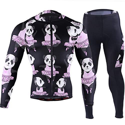 Men's Cycling Bike Jersey Long Sleeve Panda Ballet,with 3 Rear Pockets - Moisture Wicking, Breathable, Quick Dry Biking Shirt