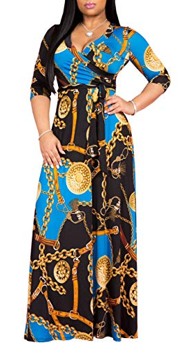 (shekiss Womens Sexy V-Neck Floral Prints Long Sleeve Maxi Party Dresses Floor Length Bohemian Maternity Wedding Clothes PrintBlue)