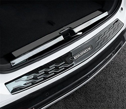 DeAutoBug Brushed Stainless Steel Rear Bumper Cover Guard Protection Pad Decoration Trim for Chevy Chevrolet Equinox 2017 (Black, inner&outer)