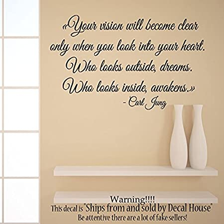Wall decals quote carl jung your vision will become clear only when you look into your