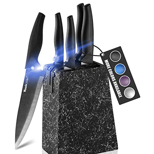 Wanbasion Marbling Purple Kitchen Knife Set Block, Kitchen Knife Set Block Wood, Professional Kitchen Knife Set Block with Knife Sharpener