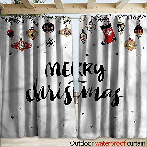 warmfamily Christmas Outdoor Curtain Panel for Patio Modern Inspiring Quote W120 x L96