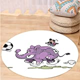 VROSELV Custom carpetElephants Decor Elephant Is Playing Soccer With A Kid Mario Moustache Sports Decor Football Print Bedroom Living Room Dorm Decor Purple White Round 72 inches