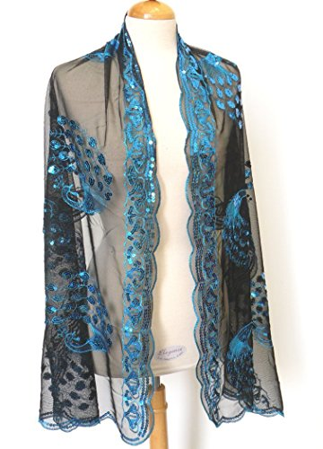 All Hand Made Peacocks Sequined Scarf . Beautiful Designs ,Elegant and Fashion Peacock For All Year Round , Soft Touch w/Convenient Size at 24