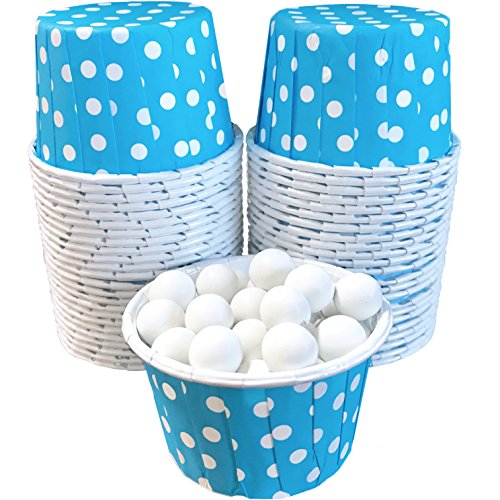 Candy Nut Mini Baking Paper Treat Cups - Light Blue and White Dot - 2 x 1.5 Inches - 48 Pack