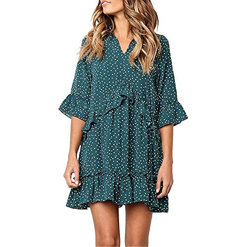 Exlura Women's Ruffle Polka Dot V Neck Bell Sleeve Dress Casual Loose Swing T-Shirt Dress Green - Polka Dot Ruffle Mini