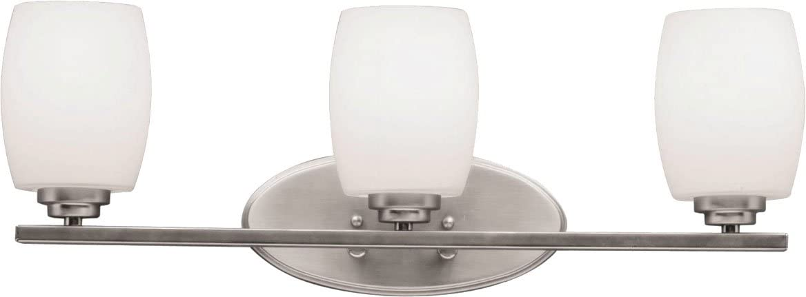 Kichler 5098NI Bath Vanity Wall Lighting Fixtures, Brushed Nickel 3-Light 24 W x 10 H 300 Watts