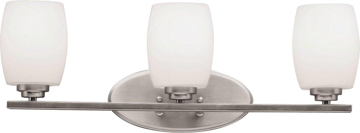 "Kichler 5098NI Bath Vanity Wall Lighting Fixtures, Brushed Nickel 3-Light (24"" W x 10"" H) 300 Watts"