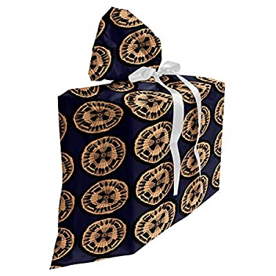 """Ambesonne Abstract Baby Shower Gift Bag, Rhythmic Ethnic Circles Motifs Woodcut Look Modern Illustration Print, Reusable Fabric Party Favor Pouch with 3 Ribbons, 27"""" X 32"""", Dark Night Blue Peach"""