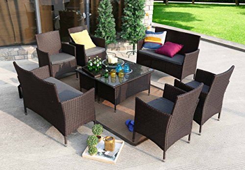Baner Garden 8 Pieces Outdoor Furniture Complete Patio Wicker Rattan Garden Set, Chocolate (N68-CH-2) by Baner Garden