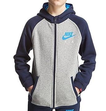 2cc70cf9a1 Nike Junior Air Full Zip Hoodie Hooded Jacket Boys Girls Grey Blue  882270-063 (10-12 Years)  Amazon.co.uk  Clothing