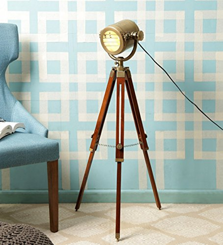 - The Brighter Side Antique Gold Brass Finish Marine Tripod Floor Lamp, Vintage Style For Home And Office