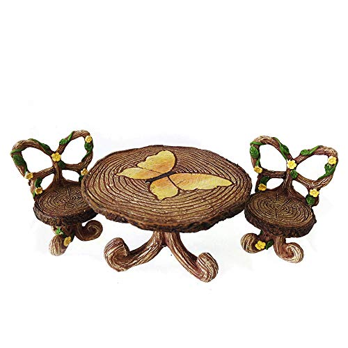 NW Wholesaler Fairy Garden Supply - Fairy Furniture - Butterfly Table & Chairs Set for Miniature Fairy Gardens ()
