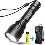 BYBLIGHT LED Torch Super Bright, Rechargeable Tactical Flashlight with USB Charger, 900 Lumens CREE LED Waterproof Torch with 5 Light Modes for Indoors and Outdoors Use, 18650 Battery Include