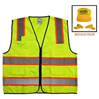 """GripGlo TLS-432C High Visibility Safety Vest; 6 Multi-Functional Pockets Neon Lime Zipper Front, 2"""" Reflective Strips with ORANGE TRIM; ANSI/ISEA 107-2010/Class 2 - INCLUDES FREE SUN VISOR - Large"""