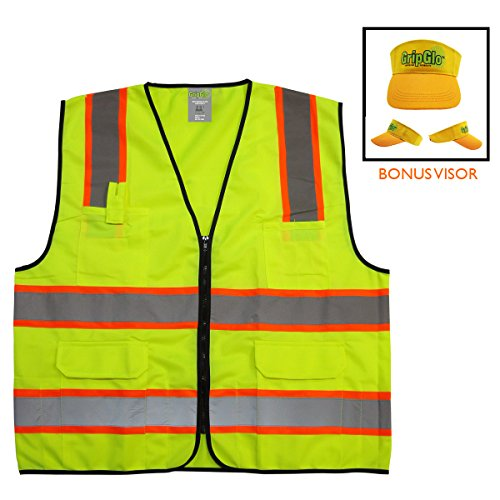GripGlo TLS-432C High Visibility Safety Vest; 6 Multi-Functional Pockets Neon Lime Zipper Front, 2