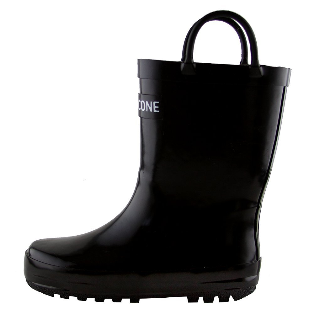 LONECONE Children's Waterproof Rubber Rain Boots in Solid Colors with Easy-On Handles Simple for Kids, Shiny Black, Little Kid 12