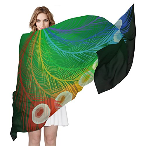 LORVIES Rainbow Peacock Feathers Silk Scarf Lightweight Long Scarf Shawl Wrap for (Rainbow Peacock Feather)