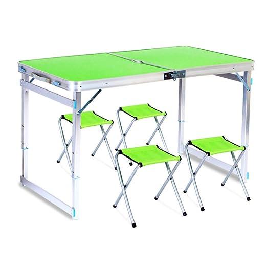 LASTARTS Mesa plegable portátil y 4 sillas Mesa de deformación de ...