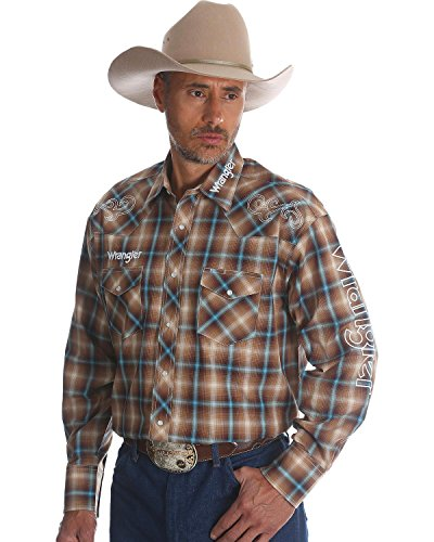Plaid Logo Shirt - Wrangler Men's Plaid Logo Long Sleeve Shirt Brown Large