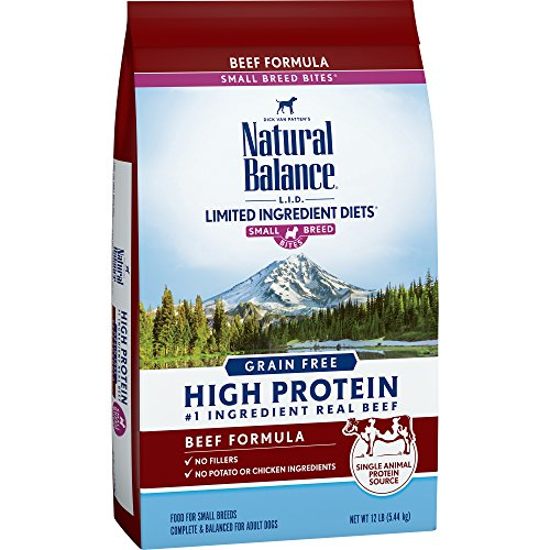 Natural Balance Limited Ingredient Diets High Protein Dry Dog Food, Beef Formula, Small Breed Bites, Grain Free, 12-Pound For Sale