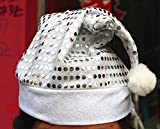 Glitter Christmas Hat Sprakling Santa Claus Hat Party Hats Decoration for Adult Kids 2 Size (M, Silver)