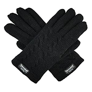 Bruceriver Ladie's Pure Wool Knit Gloves with Thinsulate Lining and Cable design