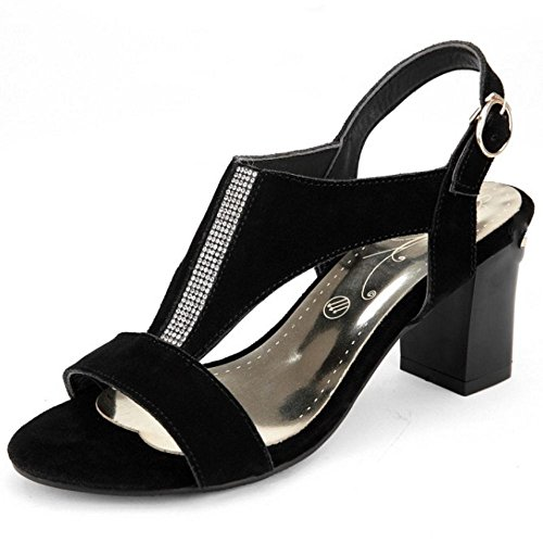 Backstrap Shoes Classics Heels Block LongFengMa High Black Ladies Sandals wX7Ox0