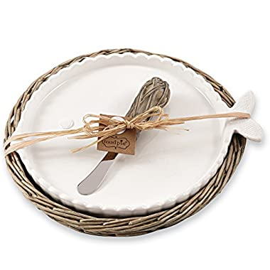 Mud Pie Fish Cheese Tray Set In Willow Holder, White
