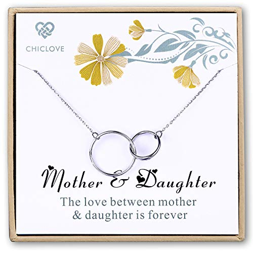 CHICLOVE Mothers Day Jewelry Gift - Mother Daughter Necklace - Sterling Silver Two Interlocking Infinity Double Circles Engraved Mother and