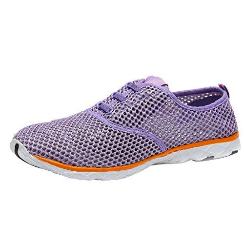 Bigcount Männer Frauen Schnell trocknende Mesh Athletic Aqua Wasser Schuhe Leichte Lace-up Walking Sneaker Schuhe Lila