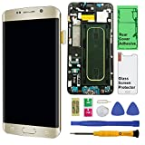 Display Touch Screen (AMOLED) Digitizer Assembly with Frame for Samsung Galaxy S6 Edge+ (Plus 5.7 inch) G928P (Sprint) (for Phone Repair Part Replacement) (Free Repair Tool Kits) (Gold Platinum)