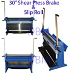 30'' Shear Press Brake Bender Slip Roll Roller Sheet Metal Finger Box 20 Gauge