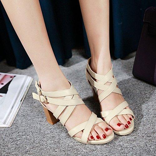 Women Criss Shoes TAOFFEN Mid Buckle Double Sandals Block Heel Cross Beige Elegant wEAdqngA