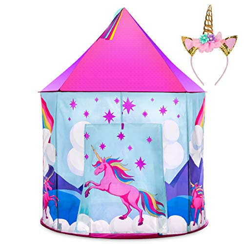 USA Toyz Unicorn Tent for Girls, Unicorn Pop Up Kids Tent w/ Unicorn Headband and Case, Indoor Princess Castle Kids Play Tent (Pink)