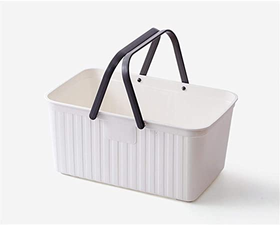 SGHTYJ Caja de Almacenamiento de Escritorio Baño Cocina Canasta de Almacenamiento de plástico Canasta de Almacenamiento Blanco 29 * 18.5 * 13.5cm: Amazon.es: Hogar
