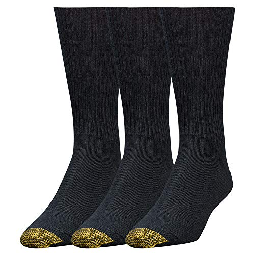 - Gold Toe Men's Fluffies Casual Sock, 3-Pack, Black, Shoe Size 6-12.5