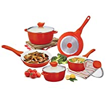 5 Piece Non-Stick Cookware Set Color: Orange