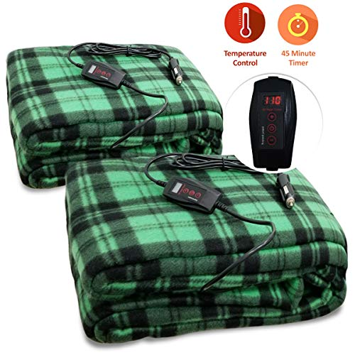 Zone Tech 2-Pack Car Heated Travel Blanket - Green Plaid Premium Quality 12V Automotive Comfortable Heating Car Seat Blanket Great for Summer