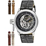 Invicta Men's 10341 Russian Diver Mechanical Silver Tone Skeleton Dial Black Leather with Reptile Pattern Watch, Watch Central
