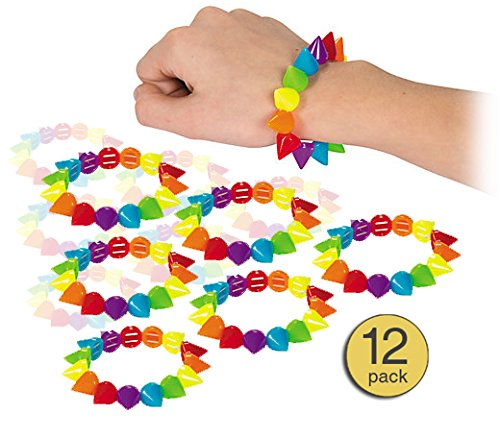 Punk Rubber Bracelets - Set of 12 - Rainbow Colorful Stretch Elastic Beaded Bracelets for Little Girls or Teens - Wholesale Bulk Value Pack