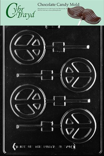Peace Sign Candy (Cybrtrayd M179 Peace Sign Lolly Chocolate Candy Mold with Exclusive Cybrtrayd Copyrighted Chocolate Molding Instructions)