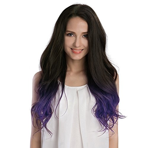 KINGHAIR Ombre#1B/Violet Clip In Remy Hair Extensions - 20 Inches - 170G Full Head Set