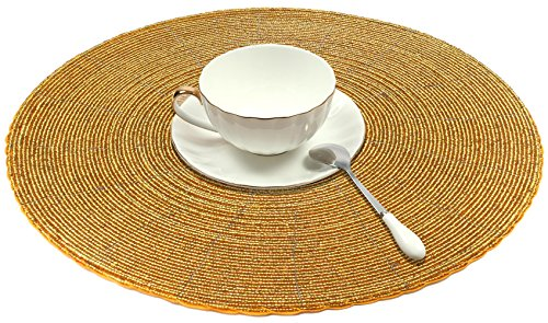 - SKAVIJ Glass Beads Placemat Pack of 4 for Dining Table Handmade (Dia-12 Inch, Gold)