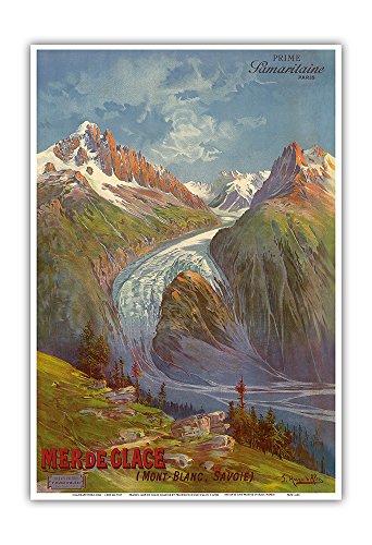 Mer de Glace (Sea of Ice) Glacier - Mont Blanc (Savoie) Alps, France - Prime Samaritaine Paris - Vintage World Travel Poster by Freidrich Hugo D'Alesi c.1890s - Master Art Print - 13in x 19in