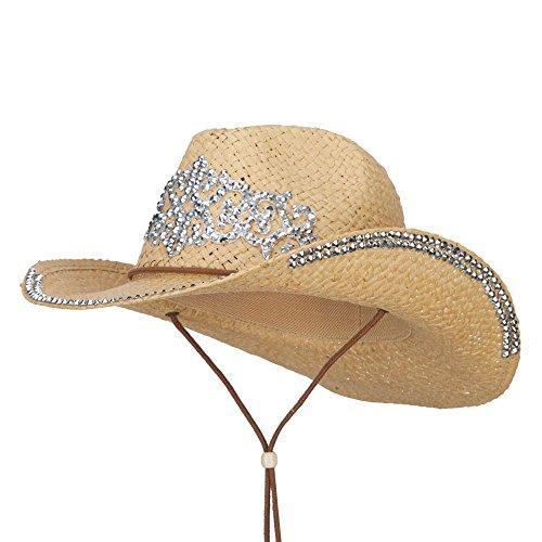 Medieval Design Stones Straw Cowboy Hat - Natural OSFM