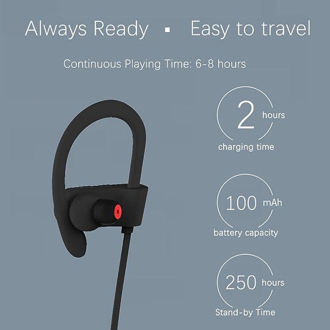 Auriculares Bluetooth 4.1 Inalambricos Toocoo Cascos Deportivos In Ear Sonido Estéreo con Micrófono y Cancelación de Ruido CVC 6.0 &Tecnología APTX ...