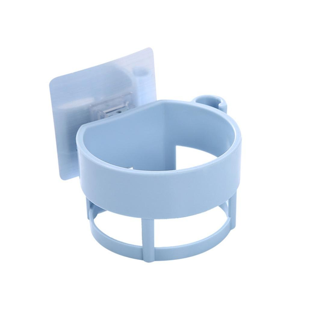 LiPing Plain Bathroom Shelves For Hair Dryer Practical Type Non-trace Stick Wall Bathroom Accessories Decorations (Blue)