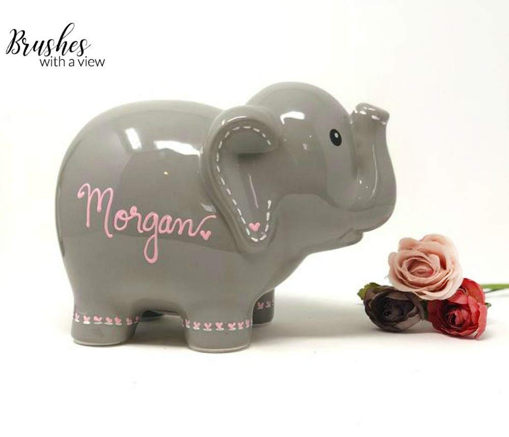 Personalized Gray Elephant for Girls, Personalized Piggy Bank with Name and your choice of heart colors by Brushes with a View (Image #1)