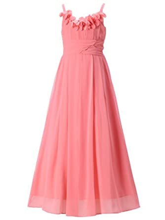 a0c9d30e745 Amazon.com  Happy Rose Long Chiffon Flower Girls Juniors Bridesmaid ...